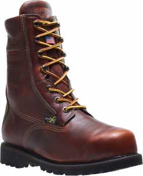 HYTEST 44011 Brown USA Made, Electrical Hazard, Steel Toe, Poron XRD Internal Met-Guard Men's 8 Inch Boot