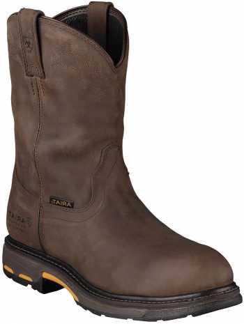 Ariat 1200 Workhog Men's Distressed Brown Slip Resistant Composite Toe Waterproof Wellington