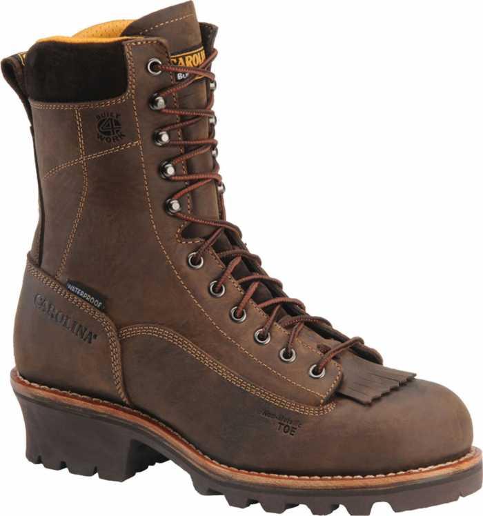 Carolina CA7522 Men's, Brown, Comp Toe, EH, Waterproof, Lace-to-Toe Logger