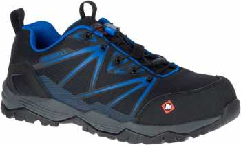 Merrel MLJ15821 Fullbench Men's, Black/Blue, Comp Toe, EH, Low Hiker
