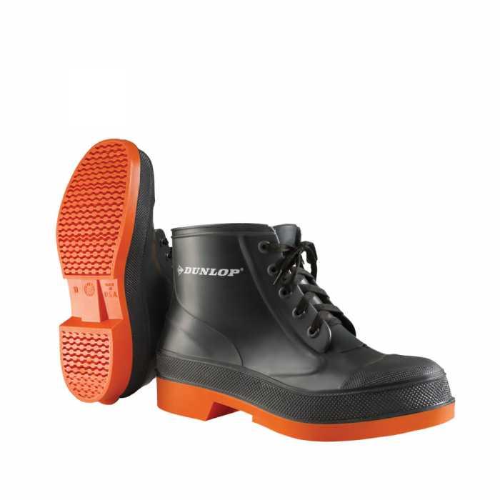 Dunlop 87981 Men's Grey/Orange 6 Inch PVC Waterproof, Slip Resistant, Steel Toe, Lace Up Boot
