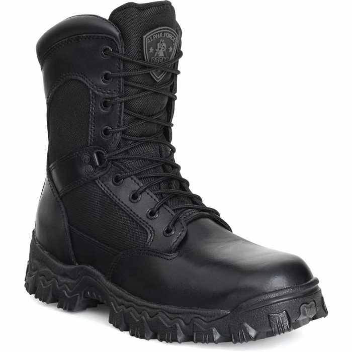 Rocky 2173 Black Waterproof, Uniform, Soft Toe, Side Zipper Boot