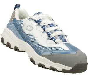 Skechers SK76442LBLW D'Lites, Women's, Blue/White, Alloy Toe, EH, Athletic