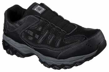 SKECHERS Work SK77161BLK Crankton Men's Black, Steel Toe, EH, Sport Slip On