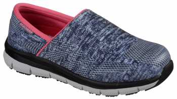 SKECHERS Work SK77239BLGY Comfort Flex Pro, Women's, Blue/Gray, Soft Toe Slip On