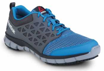 Reebok Work SRB3200 Sublite Cushion Work, Sky Blue/Dark Grey, Unisex, Athletic Style Slip Resistant Soft Toe Work Shoe