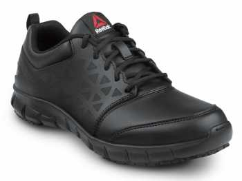 Reebok SRB3203 Sublite Cushion Work, Black, Men's, Athletic Style Slip Resistant Soft Toe Work Shoe