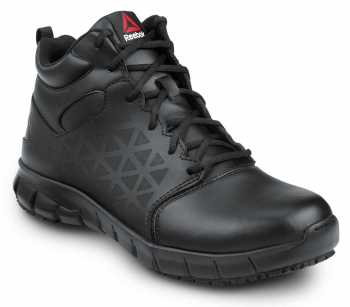 Reebok SRB3204 Sublite Cushion Work, Black, Men's, Mid-Athletic Style Slip Resistant Soft Toe Work Shoe