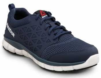 Reebok Work SRB3205 Sublite Cushion Work, Navy, Men's, Athletic Style Slip Resistant Soft Toe Work Shoe