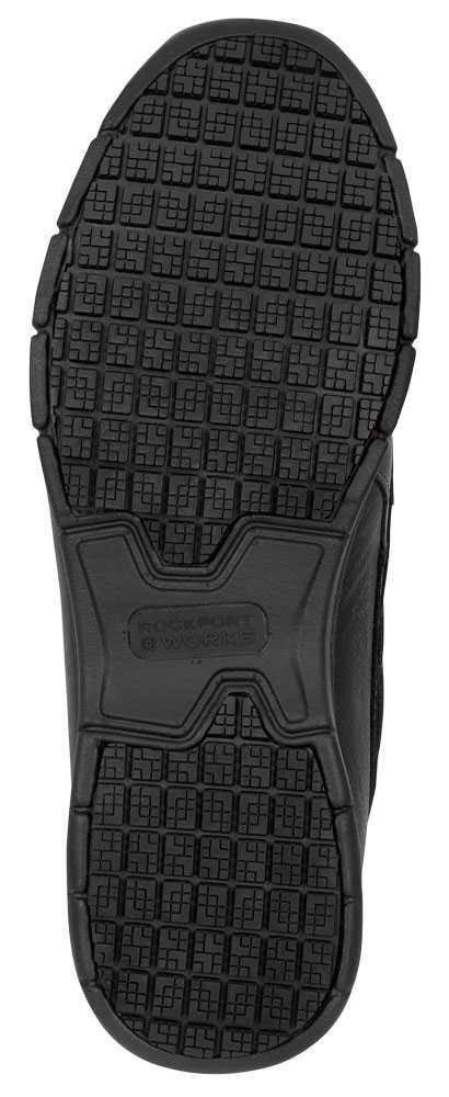 Rockport Works SRK2220 Men's Hampton Black, Boat Shoe Style Slip Resistant Soft Toe Work Shoe