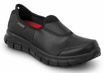 SKECHERS Work SSK401BLK Lauren Women's Black Slip On Oxford Soft Toe Slip Resistant