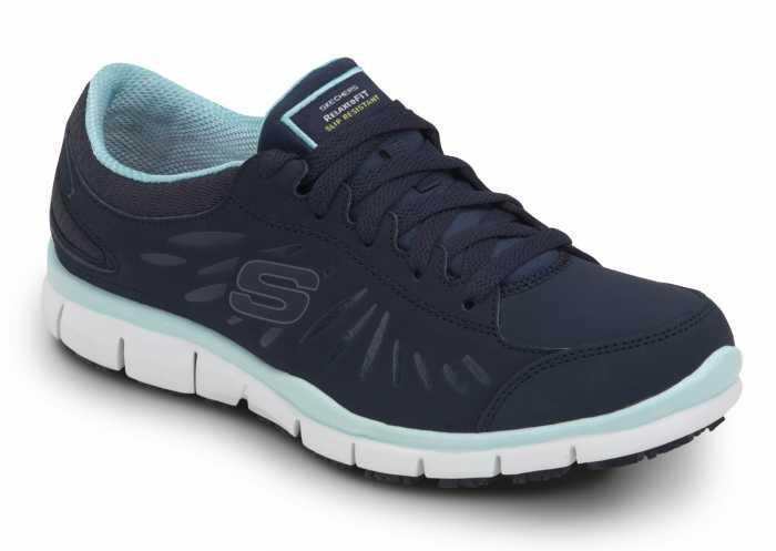 SKECHERS Work SSK405NVAQ Stacey Navy/Aqua Soft Toe, Slip Resistant, Low Athletic