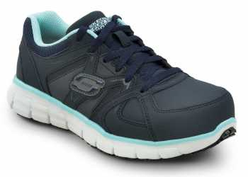 SKECHERS Work SSK406NVAQ Jackie Navy/Aqua, Aluminum Alloy Toe, EH, Athletic