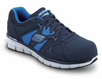 SKECHERS Work SSK606NVBL Men's Black Blue Athletic Aluminum Alloy Electric Hazard Slip Resistant