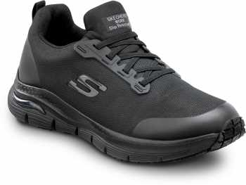 Skechers Arch Fit SSK8037BLK Charles, Men's, Black, Alloy Toe, Slip Resistant, Low Athletic