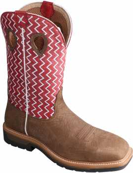 Twisted X TWMLCS001 Men's, Saddle/Cherry, Steel Toe, EH, 12 Inch, Pull On Boot