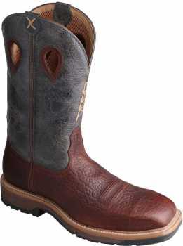 Twisted X TWMLCS006 Men's, Cognac/Blue, Steel Toe, EH, 12 Inch, Pull On Boot