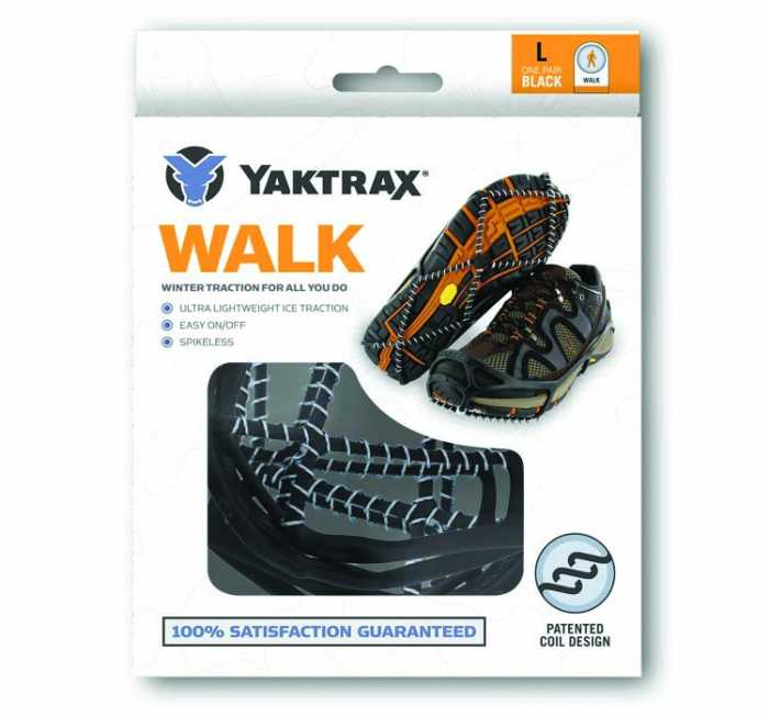 Yaktrax Walker Black Men's and Women's Rubber Steel Coil Men's sizes 5 to 8 and a half and Women's sizes 6 and a half to 10