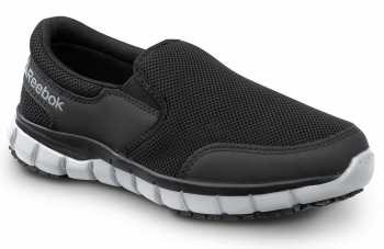 Reebok Work SRB031 Sublite Women's, Black/Grey, Slip On Athletic Style Slip Resistant Soft Toe Work Shoe