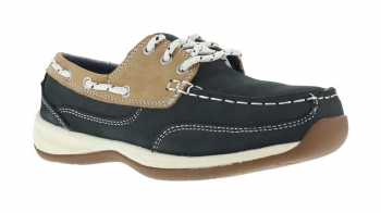 Rockport Works WGRK670 Navy/Tan Steel Toe, SD, Women's Sailing Club 3 Eye Boat Shoe