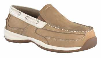 Rockport Works WGRK673 Tan/Cream Steel Toe, Static Dissipative Women's Sailing Club Slip On Boat Shoe