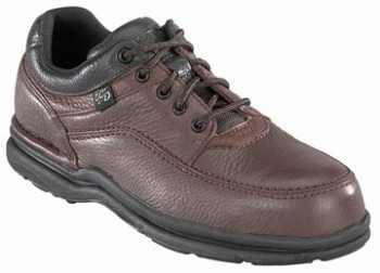 Rockport Works WGRK6762 Brown Steel Toe, SD, Men's World Tour 5 Eye Tie Casual Moc Toe Oxford