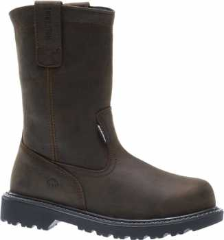 Wolverine WW10680 Floorhand Welly Men's, Brown, Steel Toe, EH, WP, Pull On Boot