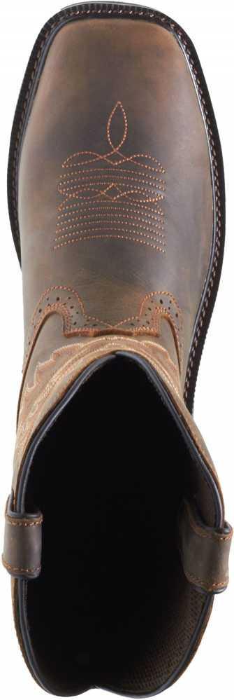 Wolverine WW10702 Men's Rancher, Dark Brown/Rust, Square Toe Steel Toe, EH, Pull On Boot