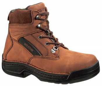 Wolverine WW4109 DuraShocks Men's, Brown, Steel Toe, EH, 6 Inch, Oblique Toe Workboot